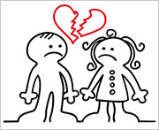 Frauen und Männer mit Liebeskummer