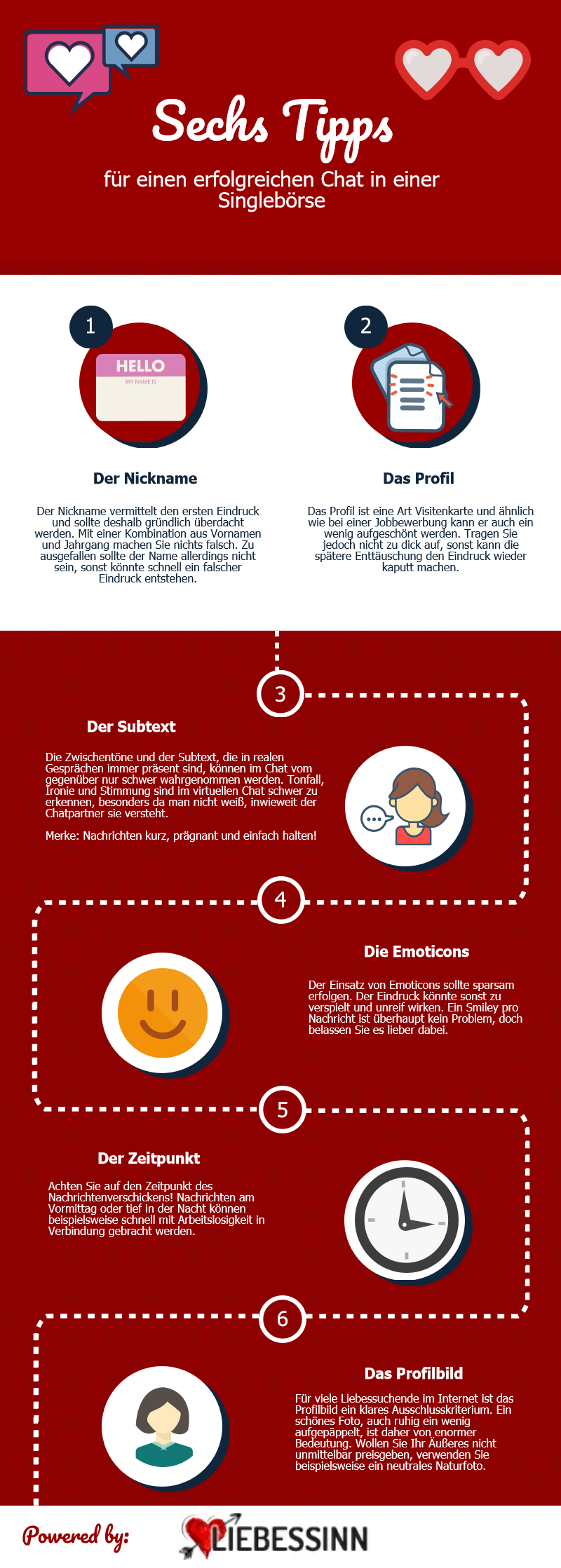 Infografik zu Tipps für einen erfolgreichen Chat in einer Singlebörse